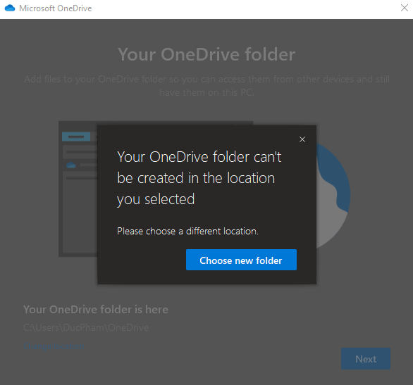 """""""Your OneDrive folder can't be created in the location you selected"""" error when moving... b47a68b8-cfc7-4e82-8a31-8ef7be77c1b6?upload=true.png"""