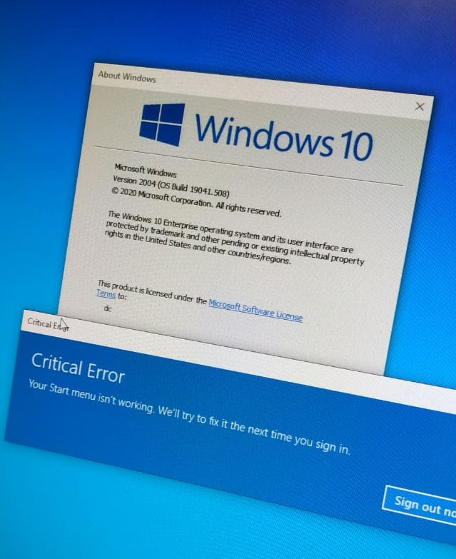 Your Start menu isn't working, we will try to fix this next time you sign in EDGE, SEARCH,... b4d3b8b7-4677-435a-8e35-583e92d6da4b?upload=true.jpg