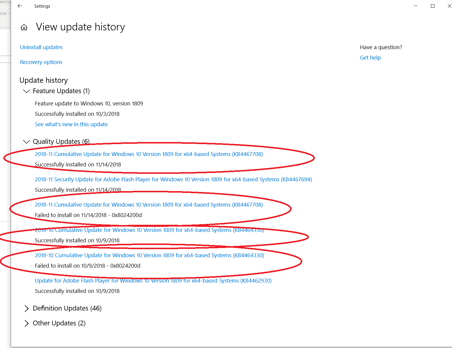Windows 10 Update - Failed to Install 0x8024200d, then Succesfully