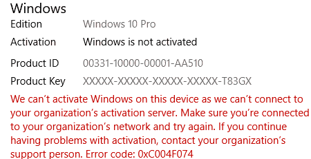 activation failed with exception code 0xc004f074