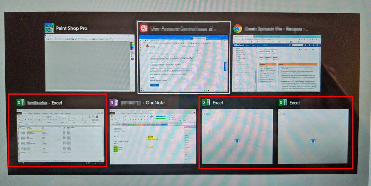 Windows 10 Alt-Tab shows additional ghost Excel apps