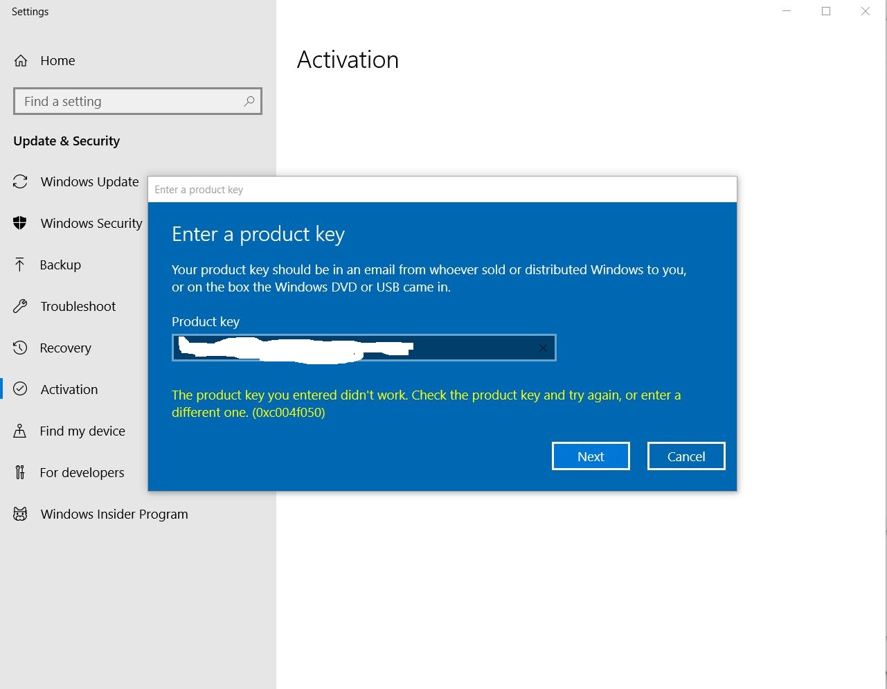 win 10 home activation gone after 1803 update