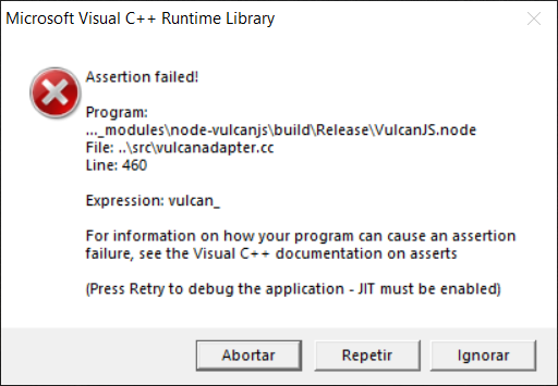 Microsoft Visual C++ Runtime Library vulcanadapter.cc, Line:460 beef1bae-5034-4d1a-b92a-3a9b01681cd1?upload=true.png
