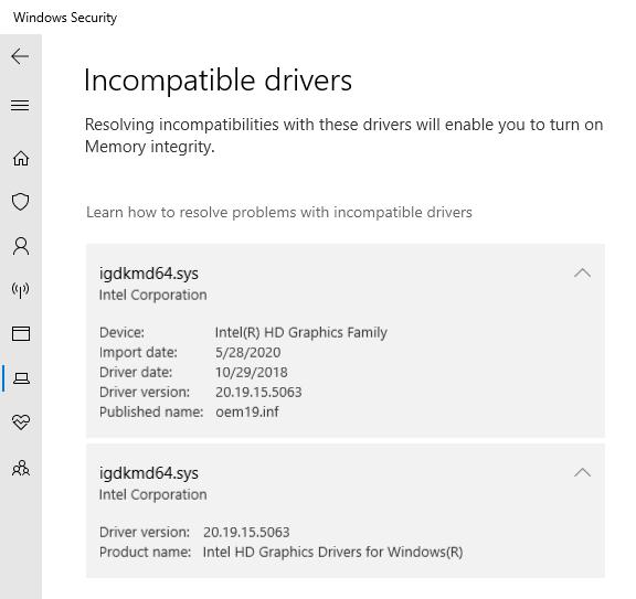 1. Incompatible drivers for memory integrity. 2. Delete windows update data bf44d46b-aaf7-44da-b3a5-99777a2ccbd0?upload=true.png