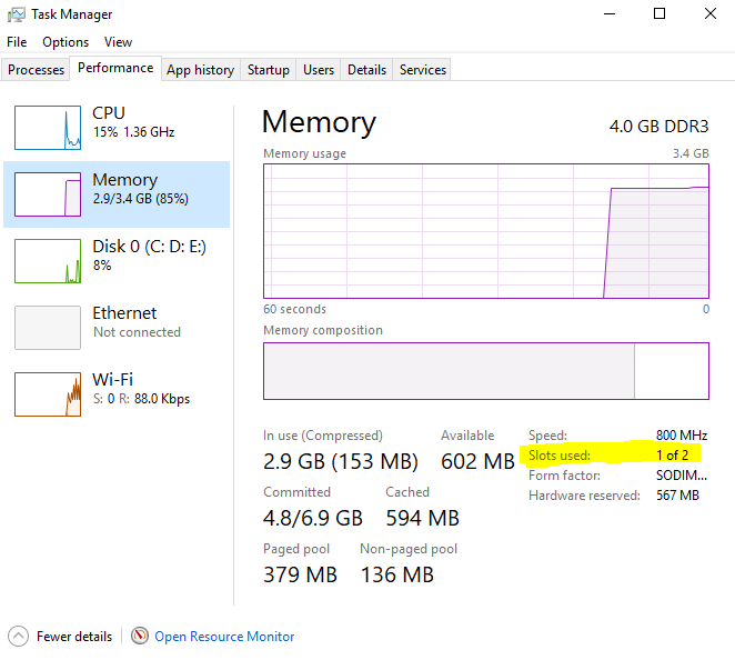Why does Task Manager indicate that I have 4 memory slots with only 2 in use when my laptop... c00f11de-e424-4e00-87ca-c631c8fab099.png