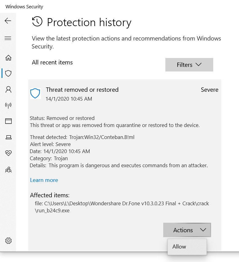 "Windows defender threat ""removed or restored"" but still comes up as 1 threat found c1671ad3-ac5c-44c7-ac92-57ad2857757e?upload=true.jpg"