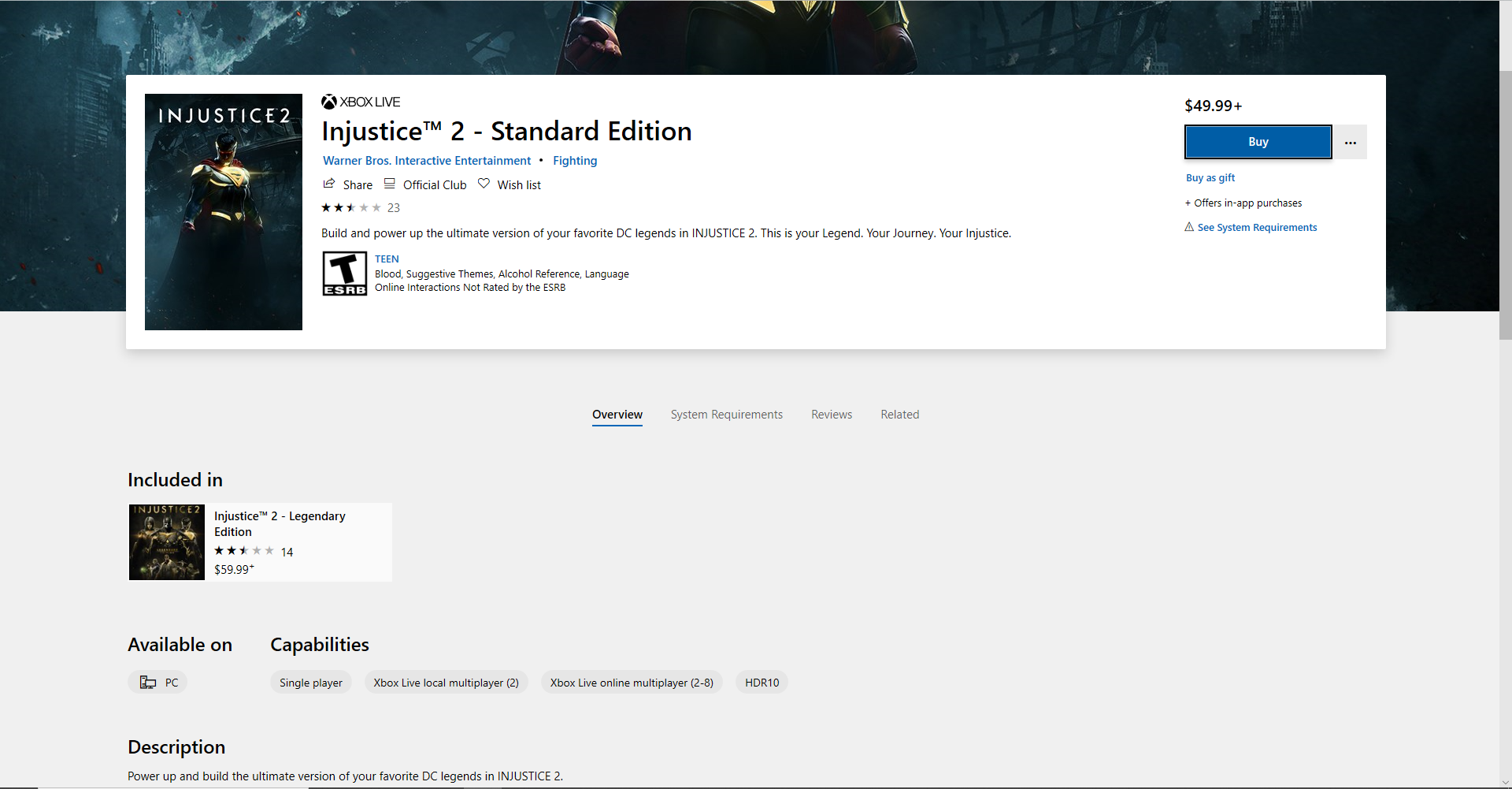 Query related to installing Injustice 2 on PC c53ee9f2-bafb-4cac-8caa-8a290a767828?upload=true.png