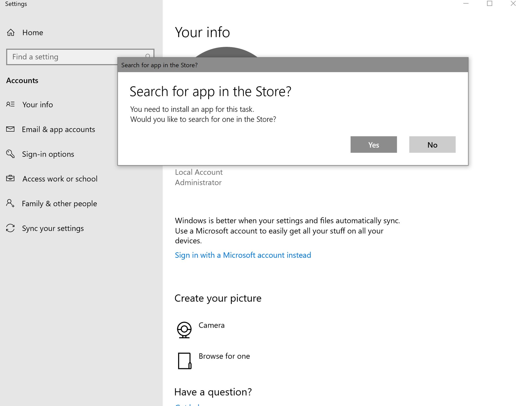 Microsoft Account Sign-In Error: Asks for Windows store app