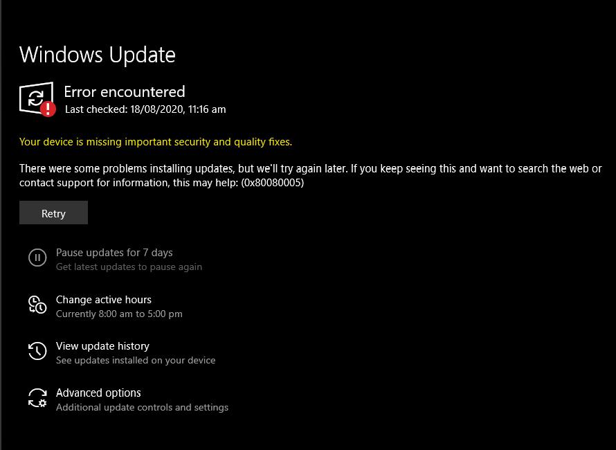 Windows Update: Error Code: 0x80080005 c6b8b115-b2b4-4462-90b8-3af428c19ac2?upload=true.png