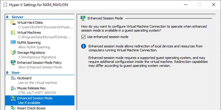 Hyper-V's enhance session does not work. c6ead602-c375-4522-8252-dffacd0b7d8f?upload=true.png
