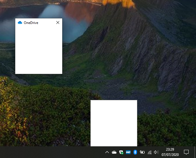 White box appears right above OneDrive icon in taskbar after left clicking on it. c95f6409-be95-460c-b060-4e78b60900fb?upload=true.png