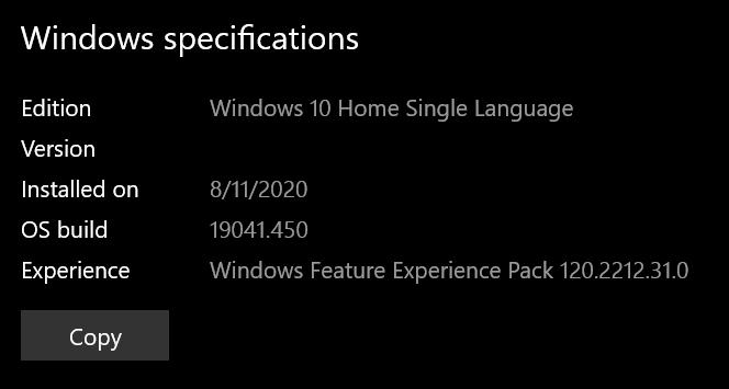 EditionWindows 10 Home Single Language - Version 2004 - OS build 19041.450 cae8930f-ca16-4c14-9da3-1fa7a3ca853a?upload=true.png