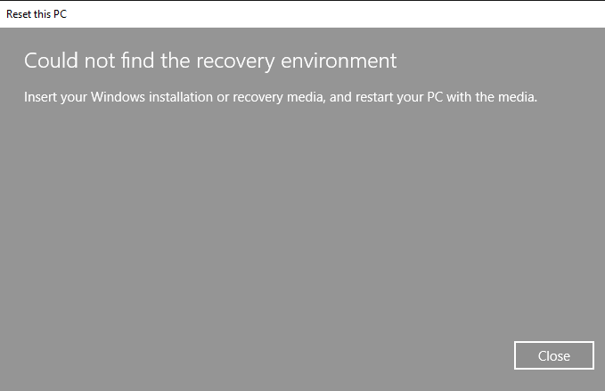 Could not find the recovery environment ce87410b-8220-4f9e-ae55-2678d6769661?upload=true.png