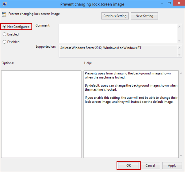 Can't change lock screen image on windows 10 choose-not-configured-and-tap-ok.png
