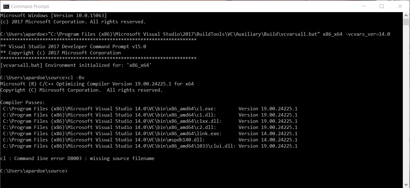 Visual Studio failes to recognize DXSDK_DIR macro and error: S1023 when installing MSVC++ 2010 CommandPrompt1102.png