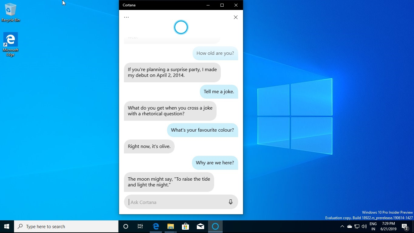 What's new in Windows 10 20H1 update, arriving early next year Cortana-chit-chat.jpg