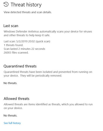 Windows defender repeatedly shows the same threat over and over after taking action cZ7zq.png