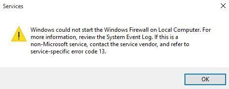 The Windows Defender Firewall service terminated with the