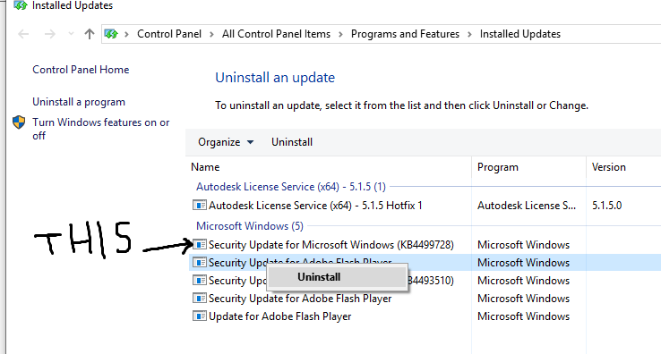 Win10 64Bit Professional | Uninstall SECURITY UPDATES FOR