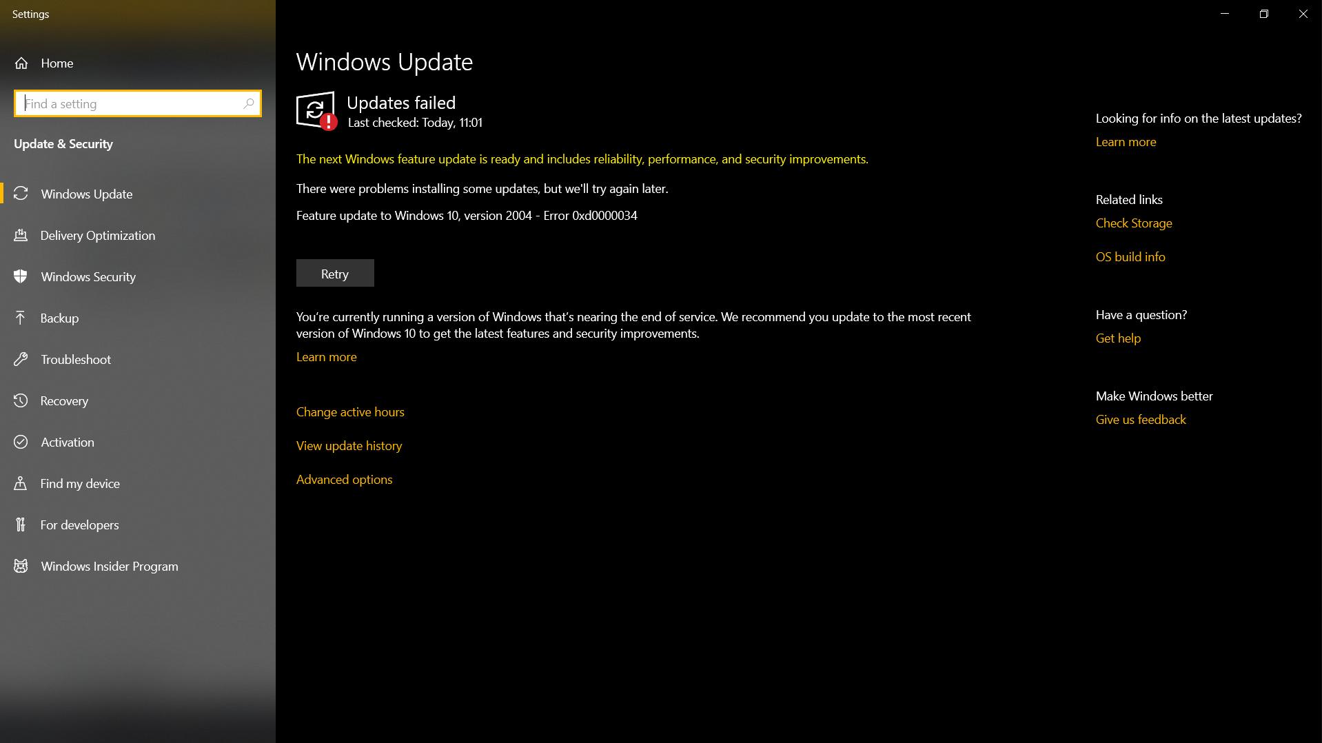 Feature update to Windows 10, version 2004 - Error 0xd0000034 d724e9e5-402f-4cc9-869e-42ada32c58f0?upload=true.png
