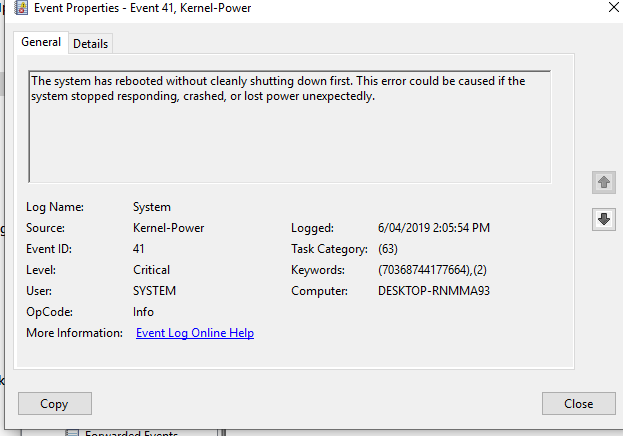 Kernel Power 41 issue