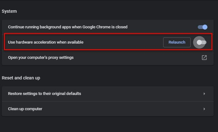 Fix Google Chrome lagging and slow to open in Windows 11/10 disable-Hardware-Acceleration.jpg