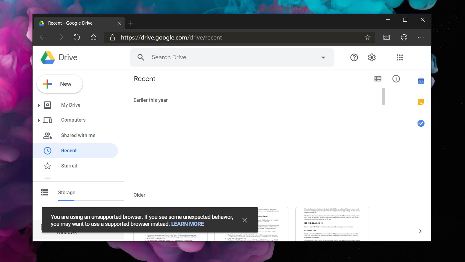Google Drive also marks Chromium-based Microsoft Edge as unsupported Drive-in-Edge-Canary.jpg
