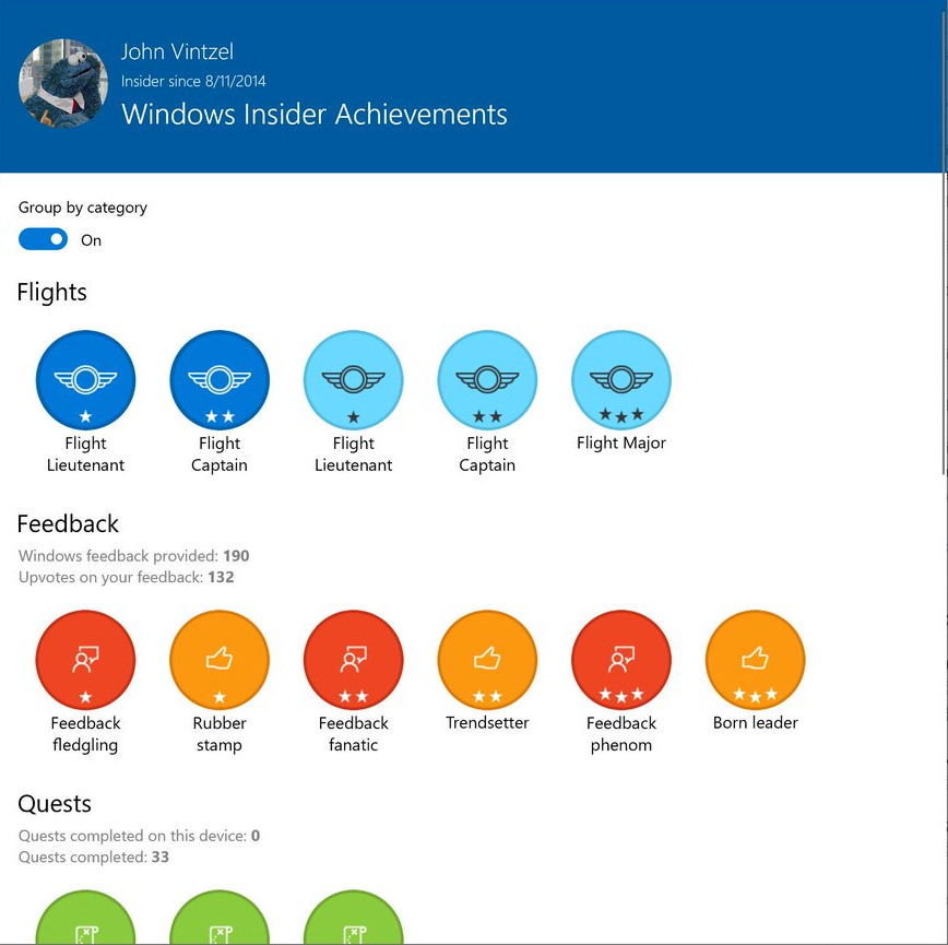 Where can I find the entire current Feedback Hub achievements? e027222b3706cf28fbd9b6d6a407ea1d.png