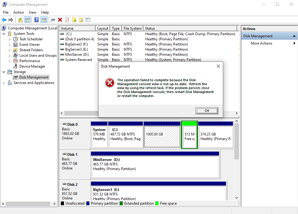 Partition with not display healthy, Disk management console view is not up-to-date e118bdc8-3ee9-4dd3-a265-034f20fe1943?upload=true.png