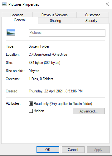 My pictures folder is in my Onedrive and it's annoying. e2accb2d-532f-44e3-8a29-da7b7cddc0d8?upload=true.png