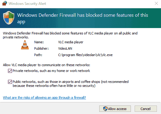 Windows defender firewall has blocked some features of VLC media