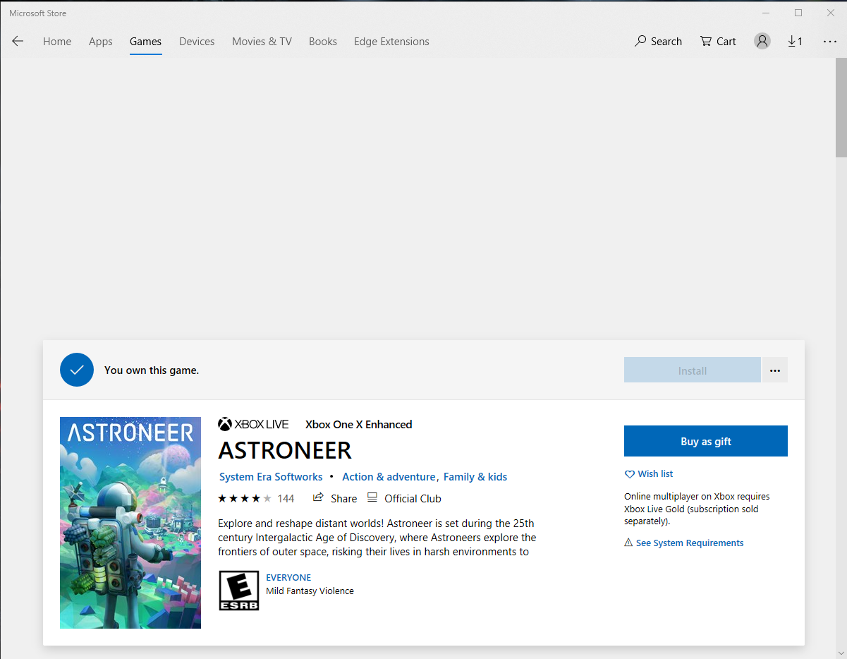 Bought Xbox Game Pass, can't click on the install button of Astroneer