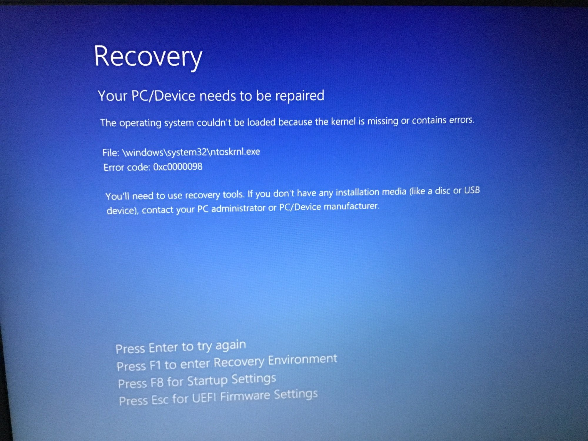 ntoskrnl exe windows 10 wont boot