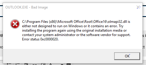 Error status 0xc0000020 while opening Micrososft Outlook after recent installation of... e86990f1-fc67-4823-a81b-2caa54514262?upload=true.png