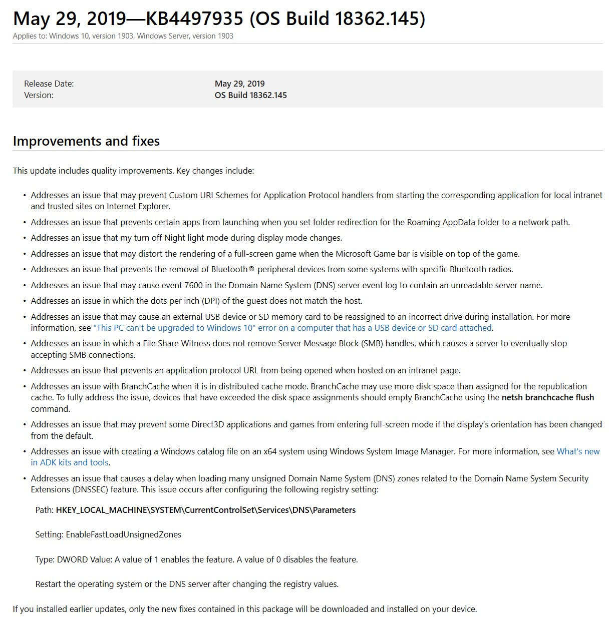 2019-05 Cumulative Update For Windows 10 Version 1903 For x64 Based