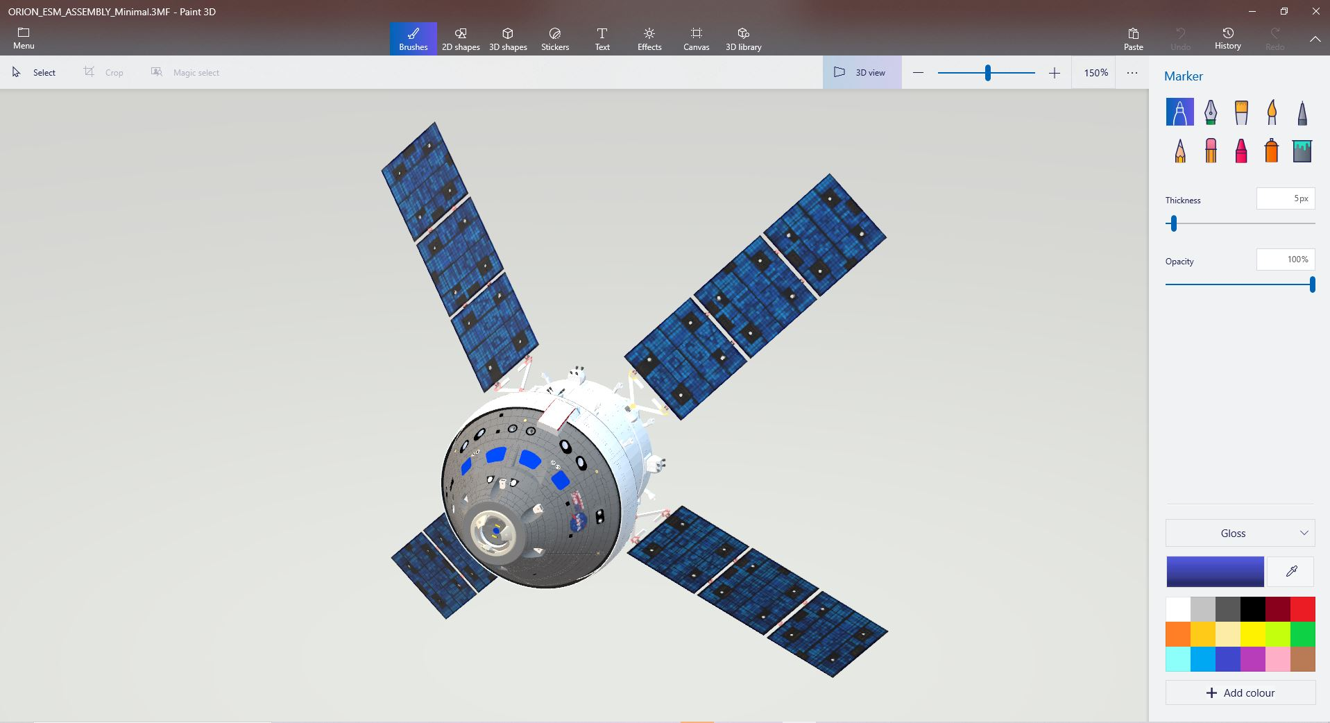 I have created a detailed 3D model of the Orion Spacecraft and imported it into Paint 3D... e8c51594-e687-458d-aaeb-d33c6fd080d6?upload=true.jpg