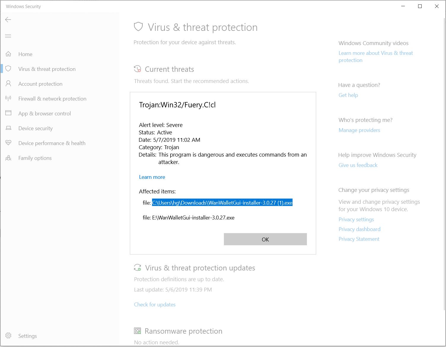 Windows Defender shows Trojan warning for an installer e902c858-5c1c-4f23-81be-57cc2dbe93dd?upload=true.png