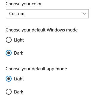 Light, dark and custom options don't show under Settings / Start / Personalization / Colors ea3fa415-d3b0-407f-8262-0fe5e937d827?upload=true.png