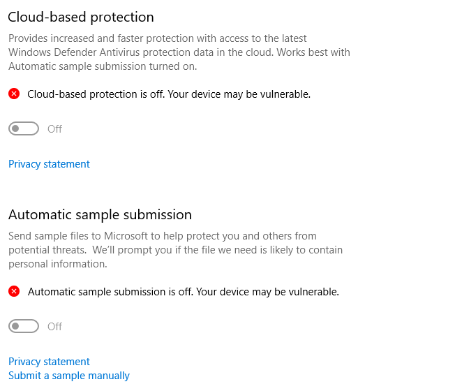 SOLVED: Cloud-Delivered protection and Automatic sample submission. This setting is managed... ed4c33fc-96ca-4a77-8669-9e17d7a3973a?upload=true.png