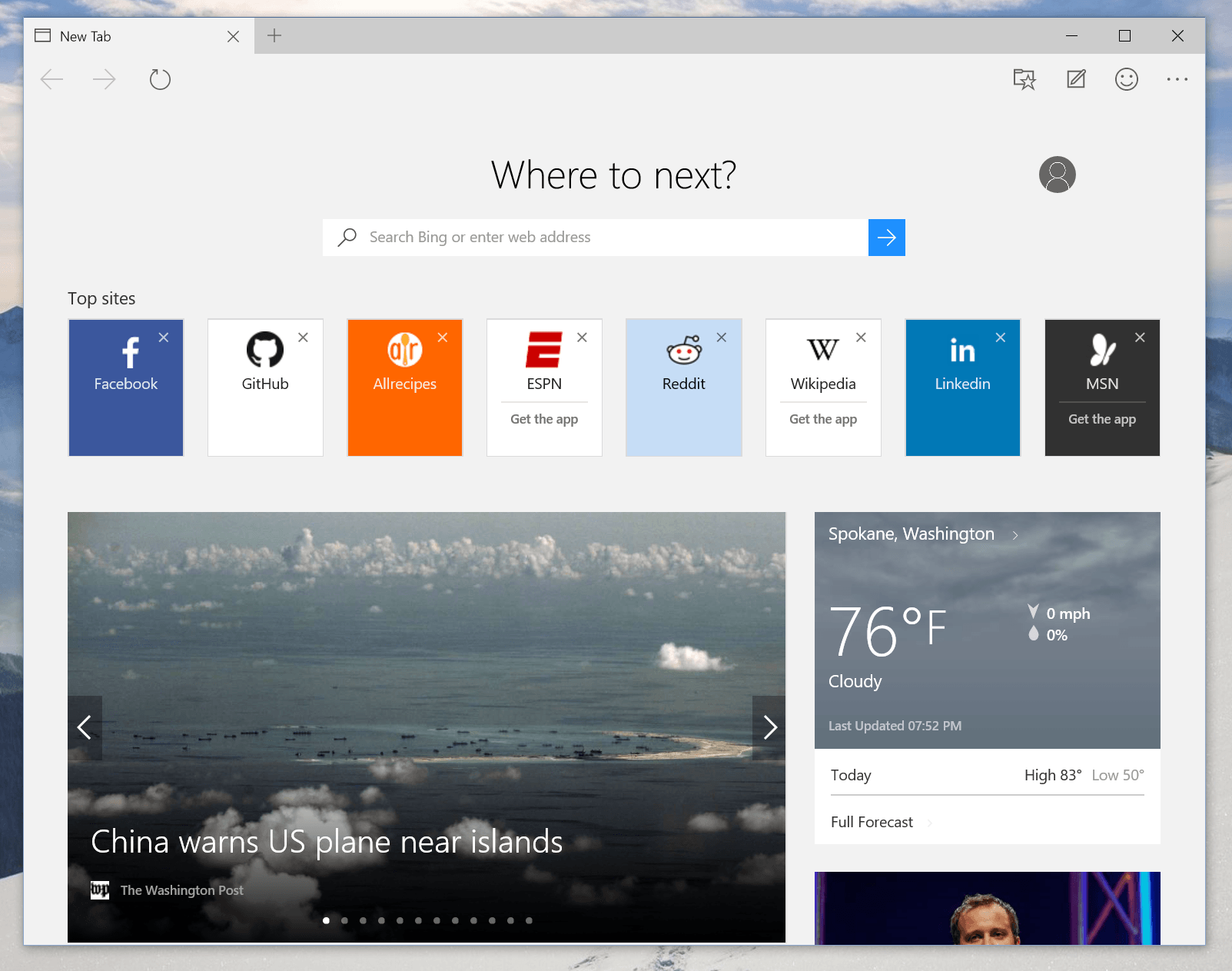 Turn off weather in new tab page in edge. edge_newtab_10122_1.png