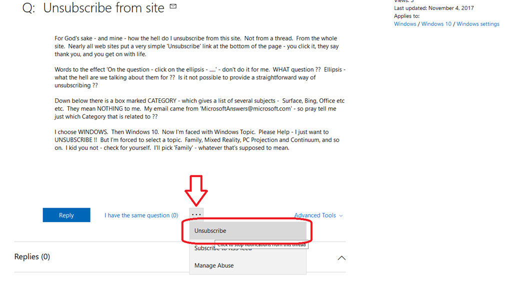 How do I unsubscribe from a question that I am not participating? eed2ac35-f3c9-4f38-8dc6-51e83efe64df.png