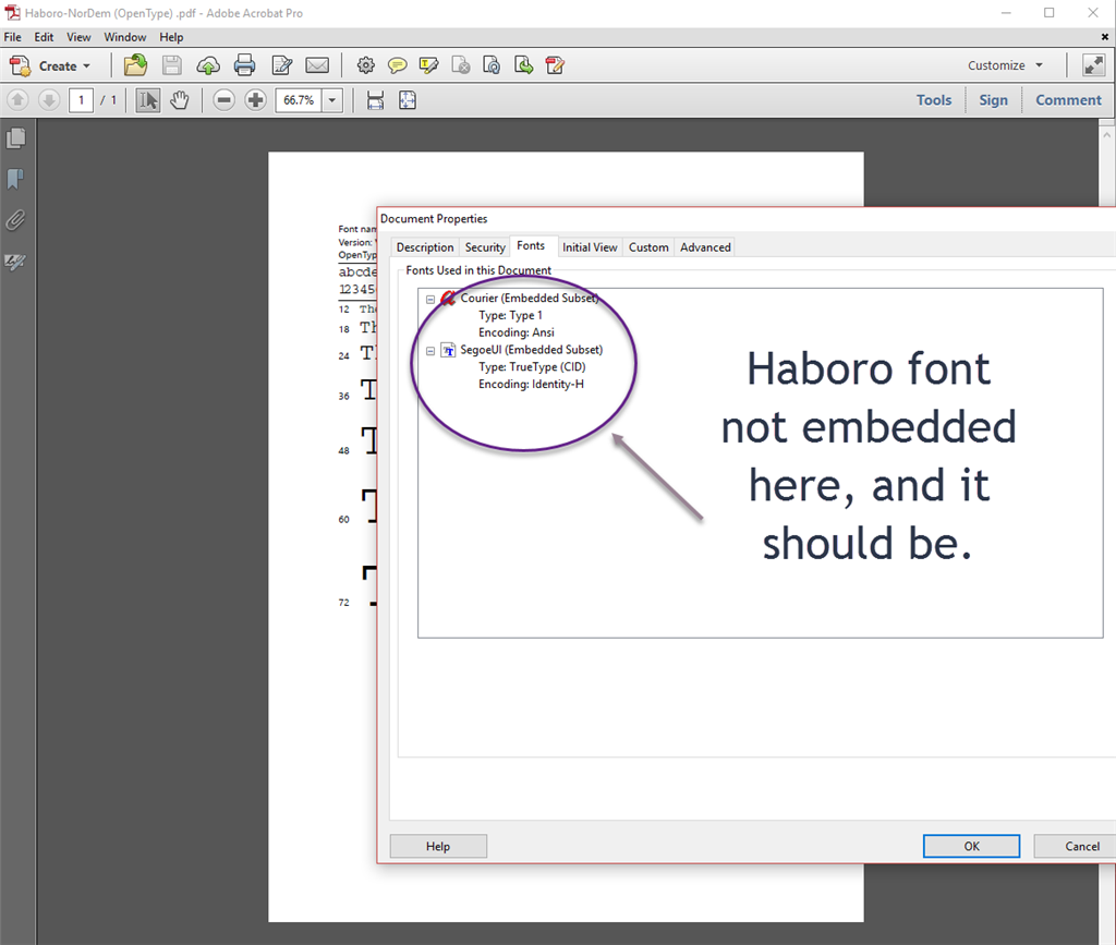 When printing from Publisher to Pdf, font is getting garbled.  Help? eee6ecc2-8e3c-43f9-86fe-a3c9bcee5741.png