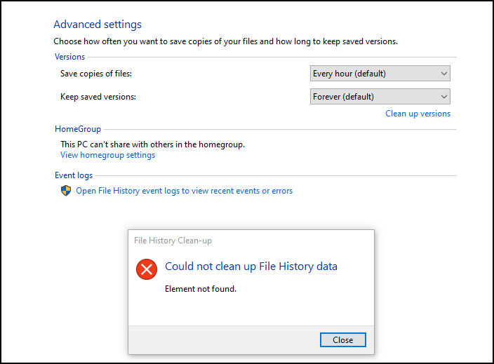 Fix File History Element Not Found error on Windows 10 Element-Not-Find-Error-Windows-10.png