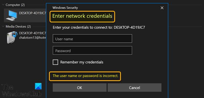 Fix Enter network credentials error on Windows 11/10 Enter-network-credentials-error.png