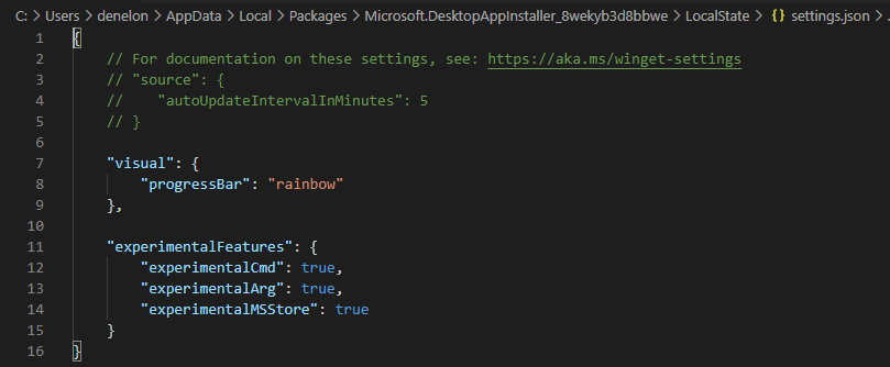 Windows Package Manager v0.2.3162 Preview released Experimental-Feature-Settings.png