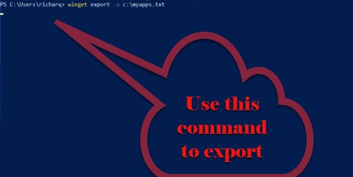 How to Export or Import Installed software list using WINGET on Windows 11/10 export-file-1.jpg