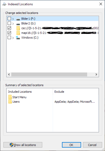 Outlook 365 Search/indexing: strange locations (mapi16