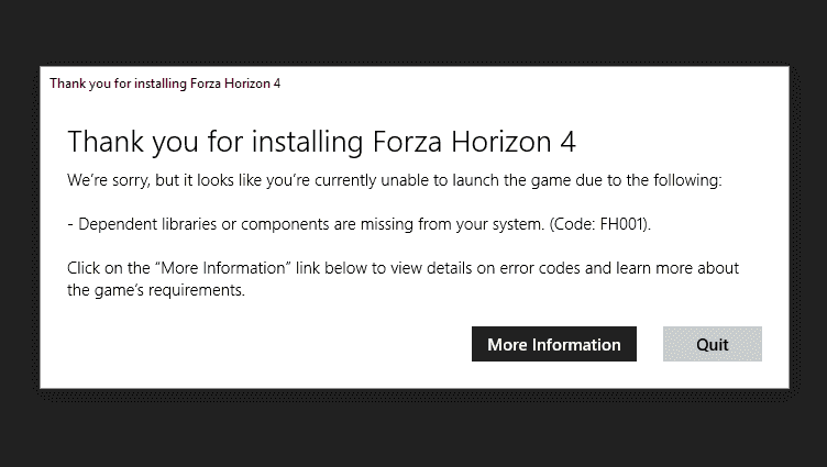 Forza Horizon 4 Launch Issue on Windows 10