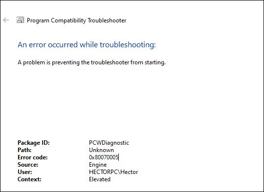 0x80070005 pops up when trying to run troubleshooter. f8916c0e-1c12-4722-85e4-947f7976bb58?upload=true.jpg