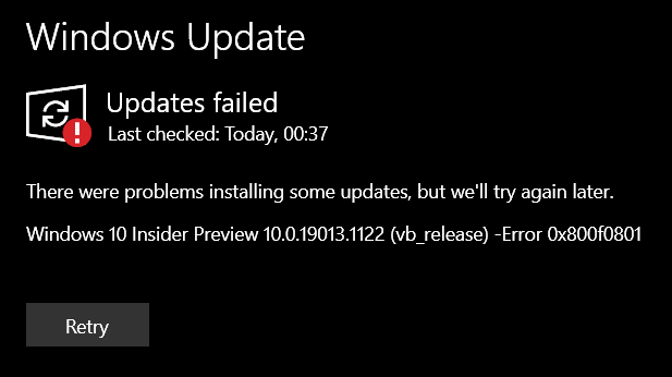 "Update Issue: ""Windows 10 Insider Preview 10.0.19013.1122 (vb_release) - Error 0x800f0801"" f8bde1e0-e093-40a2-a45a-7bcbeae54d89?upload=true.png"